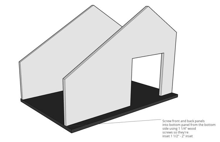 Pet house assembly diagram showing front and back panels attached to bottom panel
