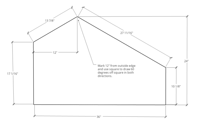 Dimensional diagram of front and back pet house panels