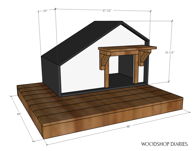 Overall dimensions of DIY pet house with deck