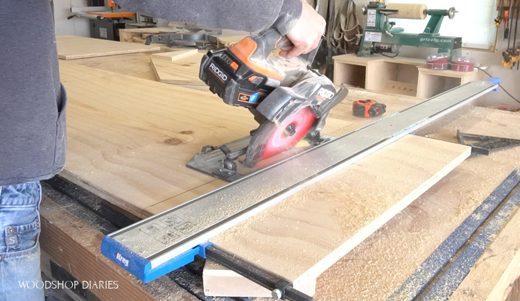 Using circular saw to cut pieces for side of dog house at 30 degree bevel