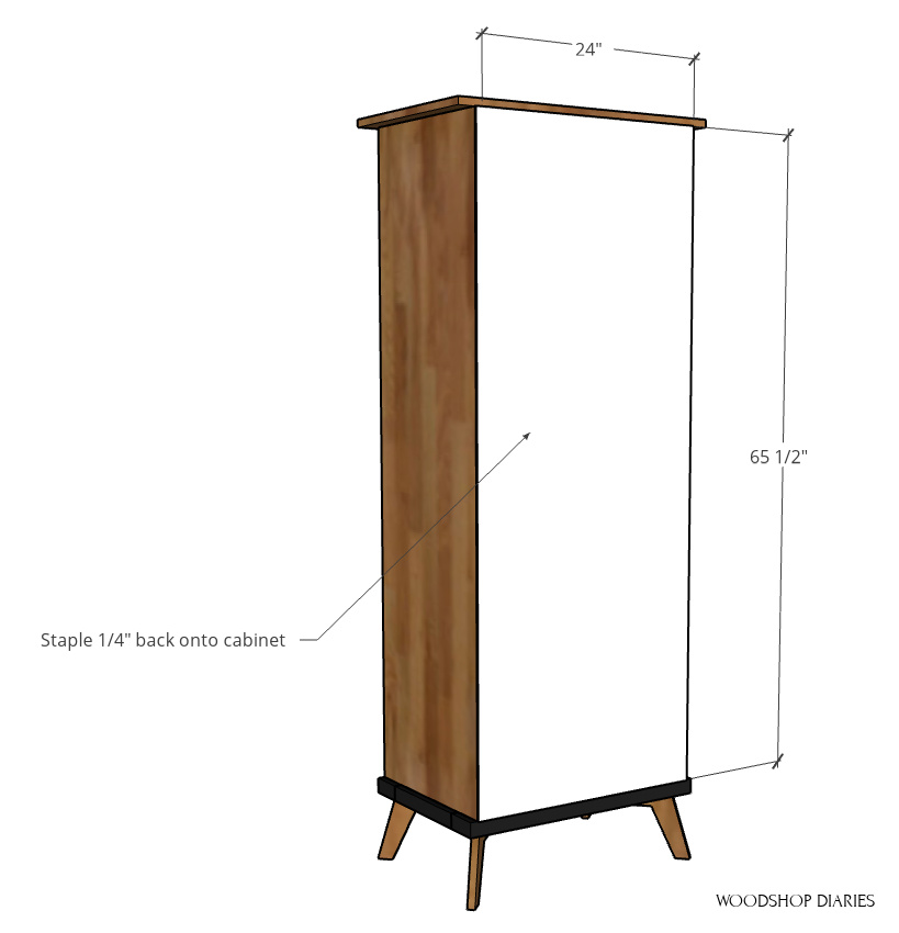 computer diagram showing installing the back panel onto the bookcase cabinet