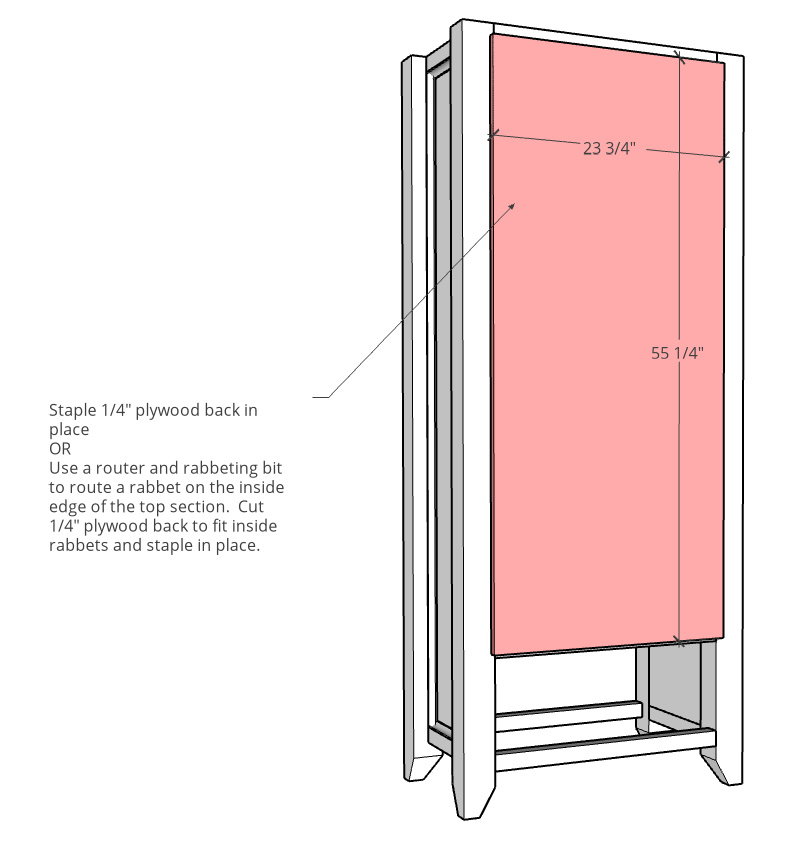 Back panel diagram with dimensions showing it attached onto back side of cabinet frame
