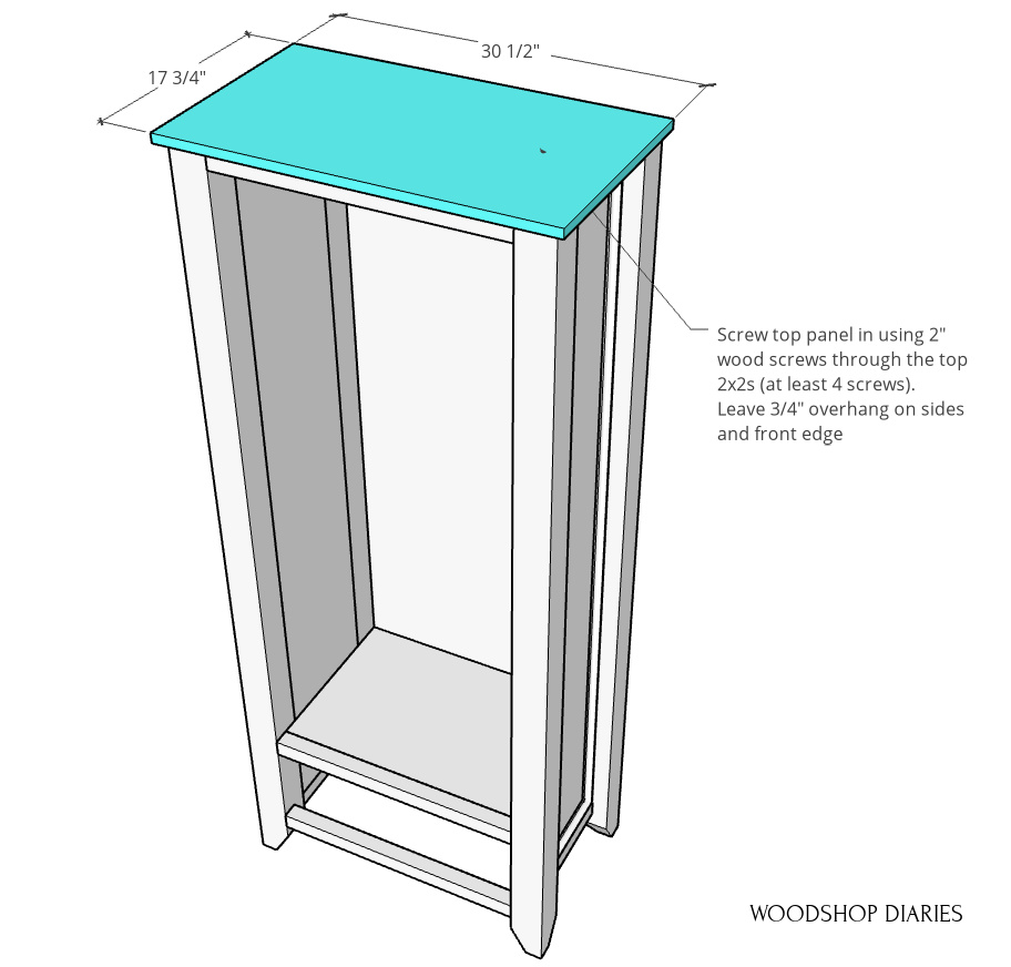 Diagram of top panel installed onto armoire wardrobe cabinet