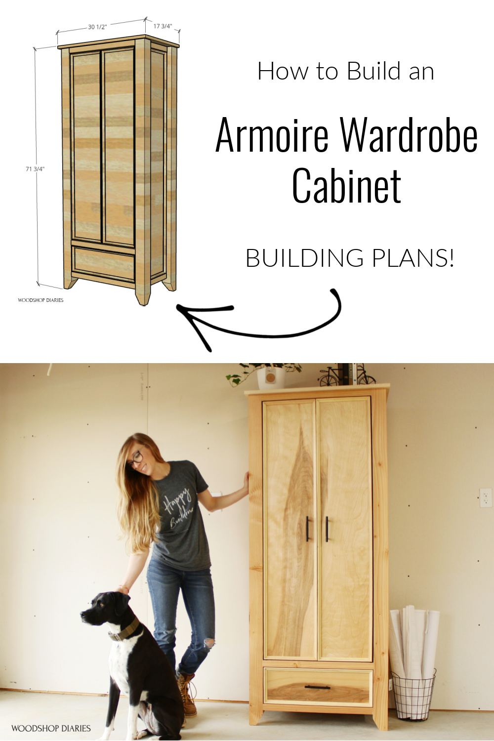 """Pinterest graphic showing overall dimension diagram at top and finished project at bottom with text """"how to build an Armoire Wardrobe Cabinet Building Plans!"""""""