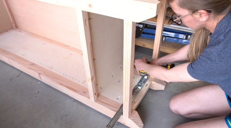 Shara Woodshop Diaries installing drawer slides into armoire wardrobe cabinet