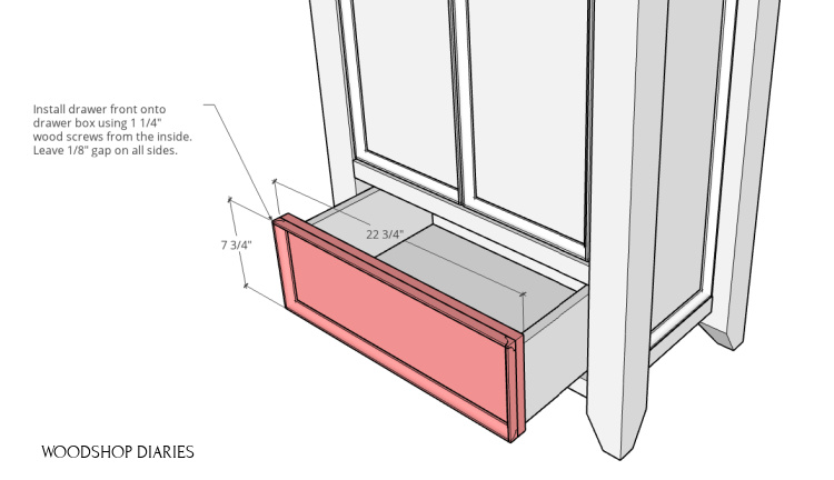 Drawer front attached onto drawer box in pantry cabinet