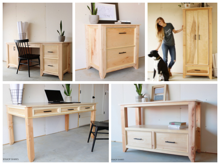 Collage image of all the matching furniture pieces for home office collection