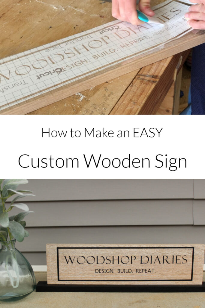 """Pinterest collage image showing stencil application at top and completed custom wooden sign at bottom with text """"how to make an EASY custom wooden sign"""""""
