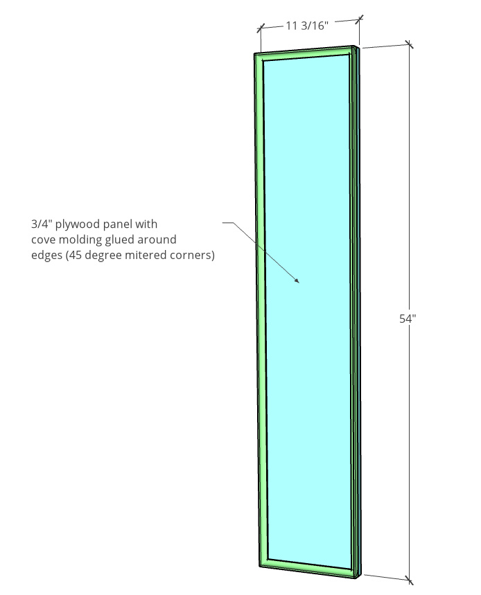 """Door diagram with dimensions--11 3/16"""" wide x 54"""" tall with cove molding glued on the front edges"""