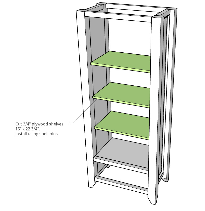 Shelves cut and installed into DIY armoire wardrobe cabinet--computer diagram