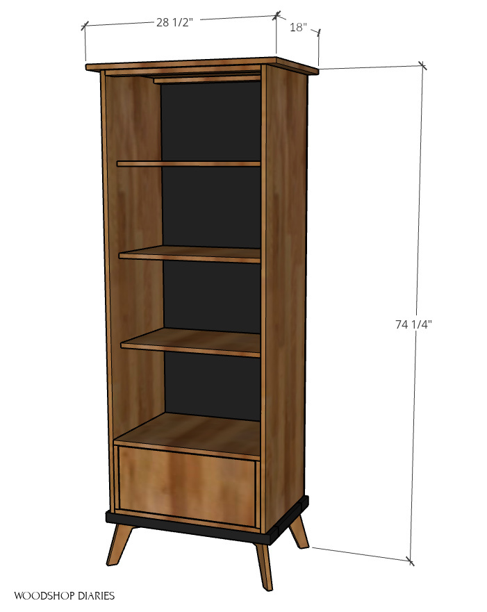 overall dimensional diagram of modern bookcase cabinet