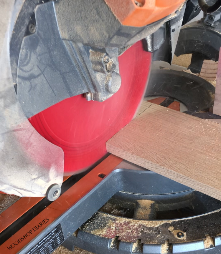 Using miter saw to cut sign board