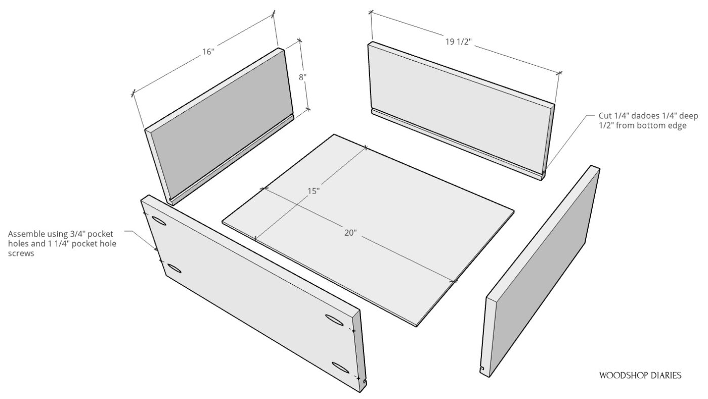 exploded view of drawer box build
