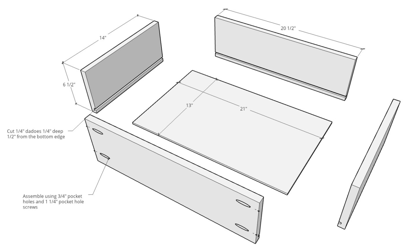 """Drawer box exploded diagram with dimensions--¾"""" plywood sides and ¼"""" plywood bottom"""