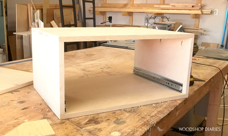 plywood box with drawer slides installed