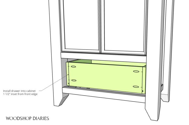Computer diagram of drawer box installed into armoire wardrobe cabinet frame