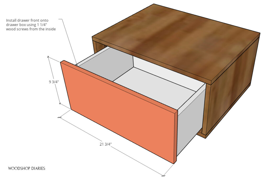 diagram showing drawer front installed onto drawer box