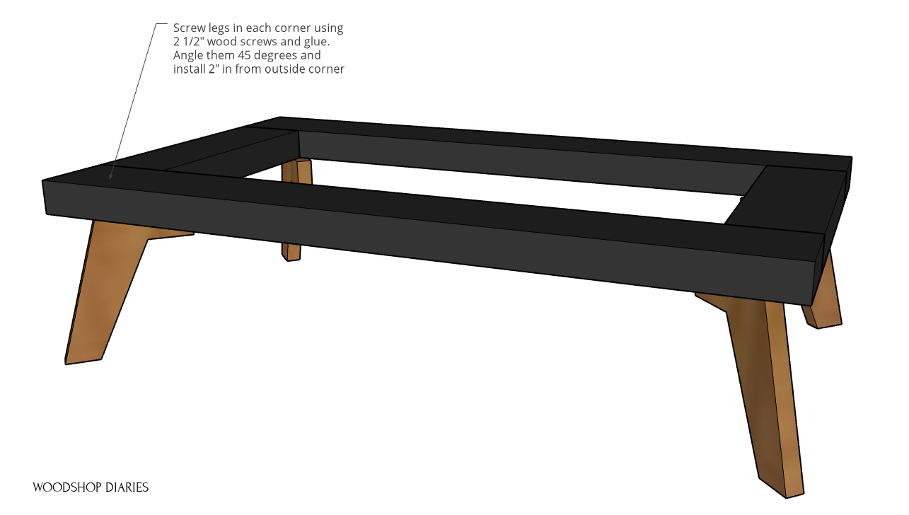 Black and wood modern base frame assembled