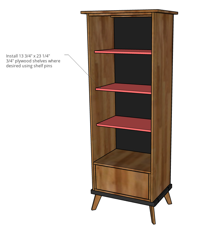Computer diagram showing how to install the adjustable shelves into the bookcase cabinet