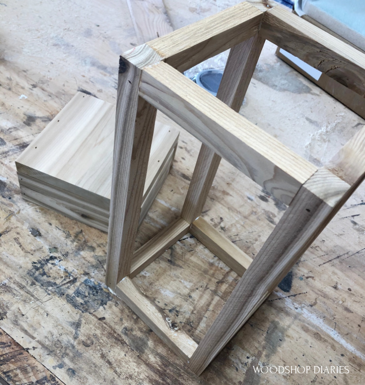 Lantern top frame assembled with wood glue and nails