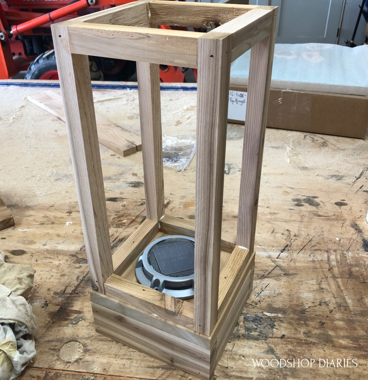 Top outdoor scrap wood lantern frame attached to bottom base box