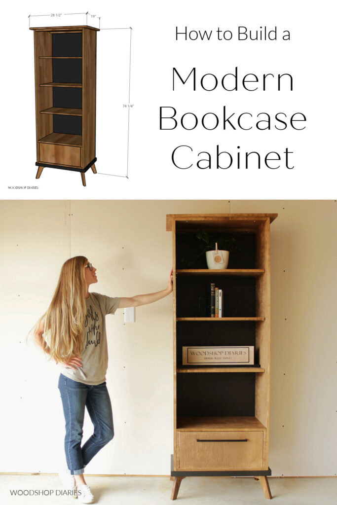"""Pinterest collage image showing overall dimensions at top and Shara standing by bookcase at bottom with text """"how to build a modern bookcase cabinet"""""""