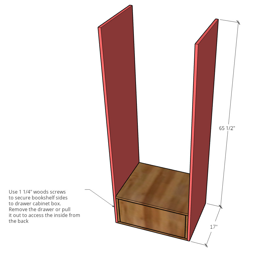 Diagram showing dimensions of side panels for bookshelf build