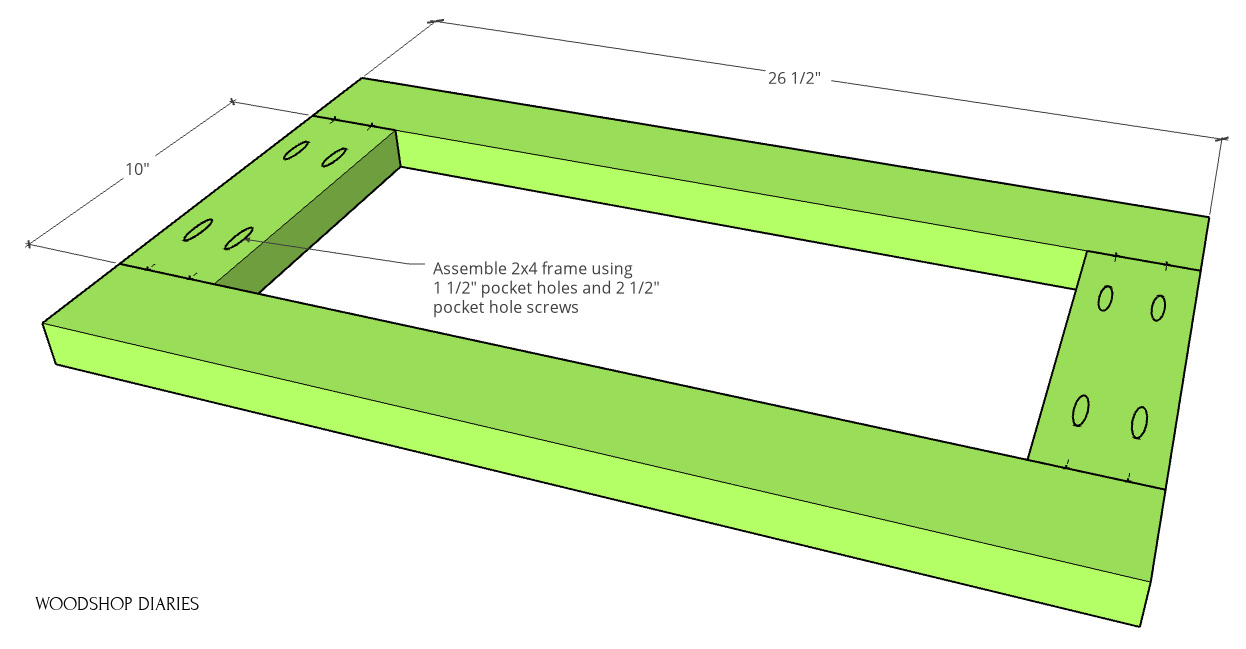 Base frame dimensions of bookcase cabinet