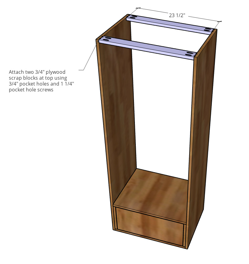 Top supports installed onto bookshelf