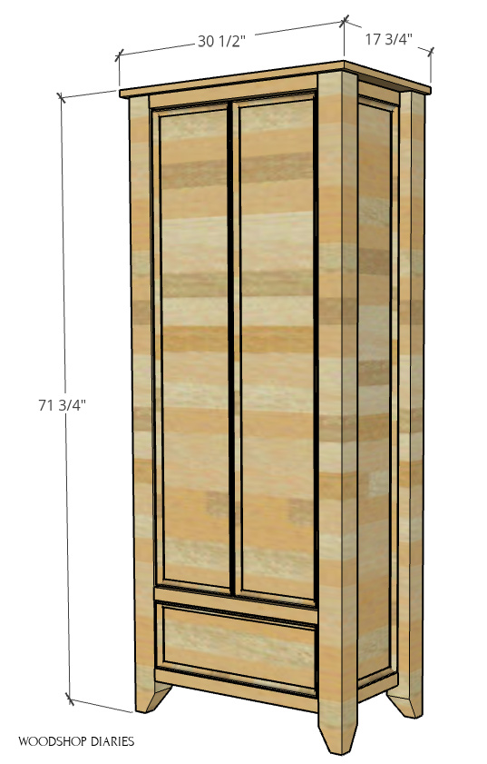 """Computer diagram showing overall DIY armoire wardrobe cabinet dimensions--17 ¾"""" deep, 30 ½"""" wide, 71 ¾"""" tall"""