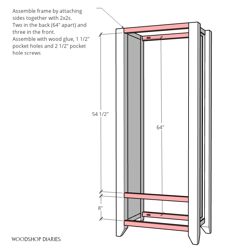 DIY armoire wardrobe pantry cabinet frame assembled using 2x2 boards at front and back