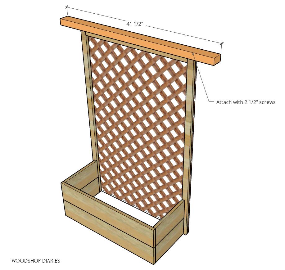 Scrap wood board added to top of trellis