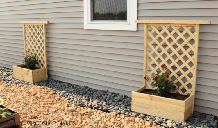 Two completed DIY planter boxes with trellis sitting in garden space next to house