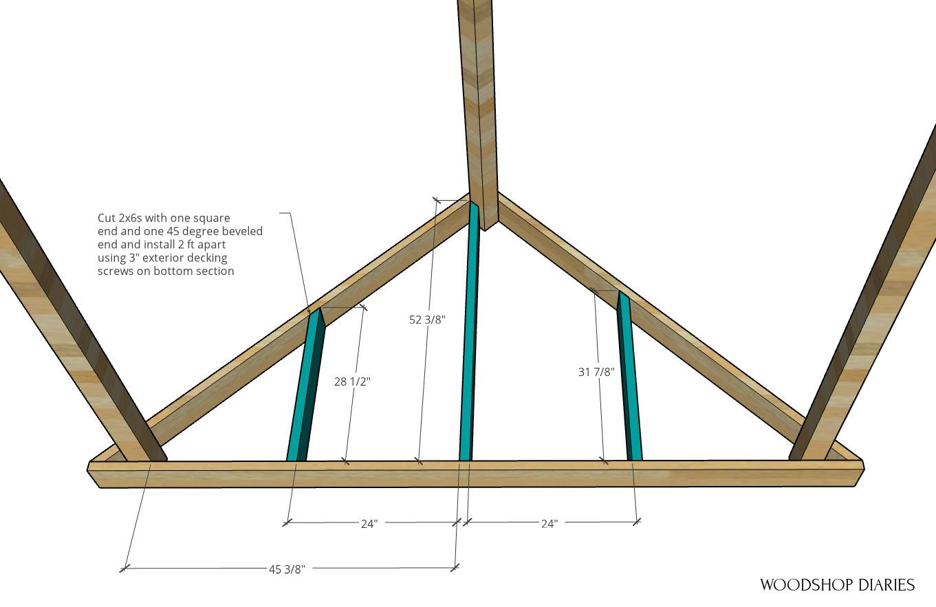 floating deck framing in corner triangle