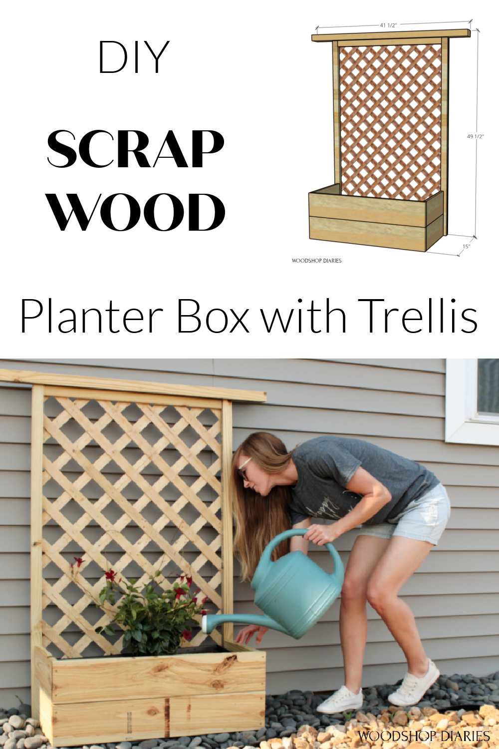 """Pinterest collage image showing overall planter box with trellis overall dimensions diagram at top and Shara watering plants inside at bottom with text """"DIY scrap wood planter box with trellis"""""""
