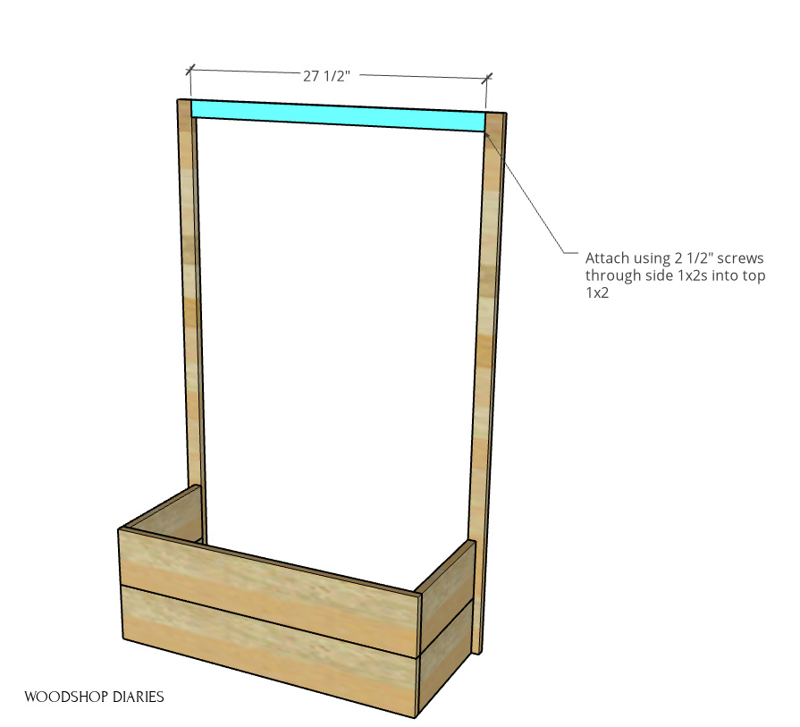 Top piece of trellis frame added between 1x2s on sides of planter box
