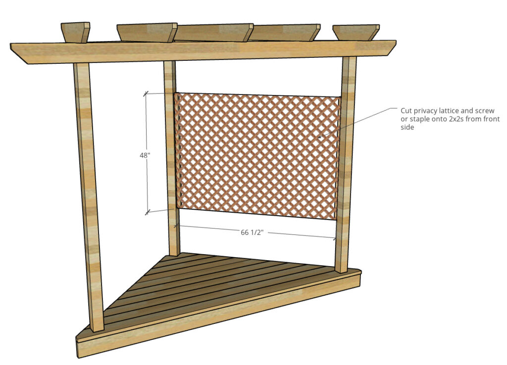 Diagram showing lattice screen installed into hammock stand on one side