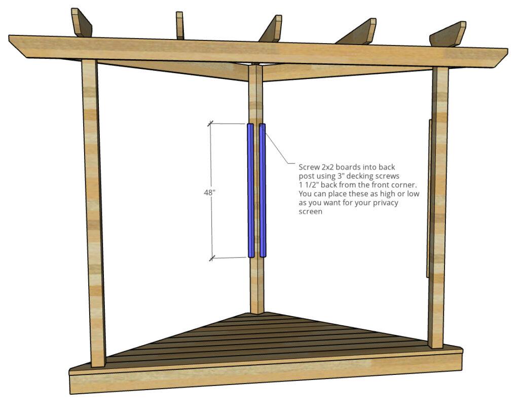 Diagram showing 2x2 lattice screen bracing on back corner post of floating deck pergola build