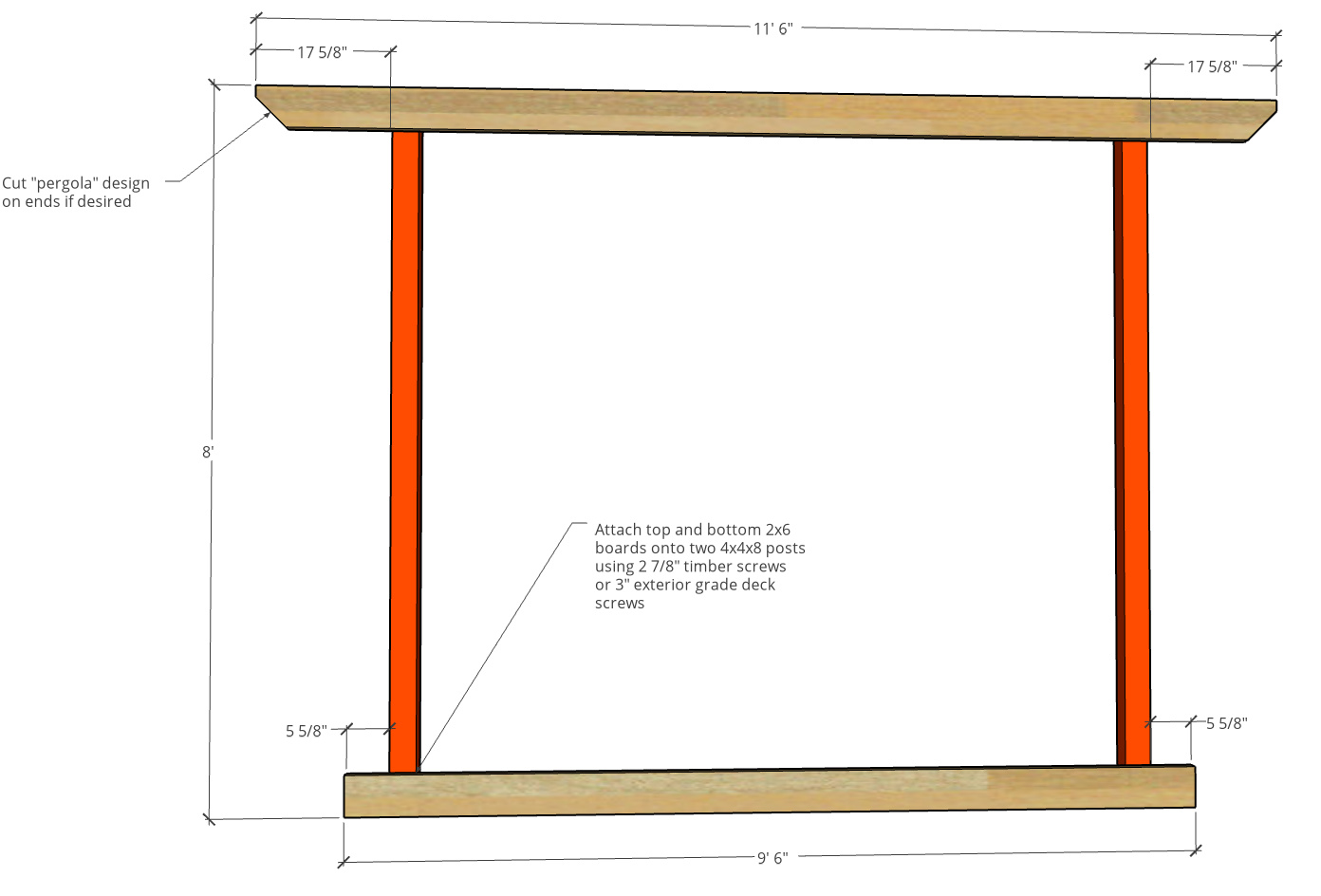 Front frame of hammock stand made of 4x4 posts and 2x6 boards