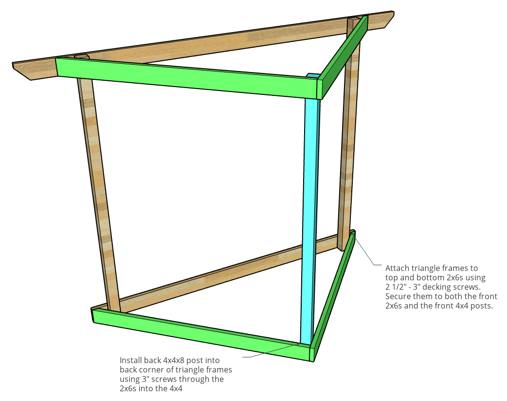Hammock stand framing diagram showing 2x6 and 4x4 post placement