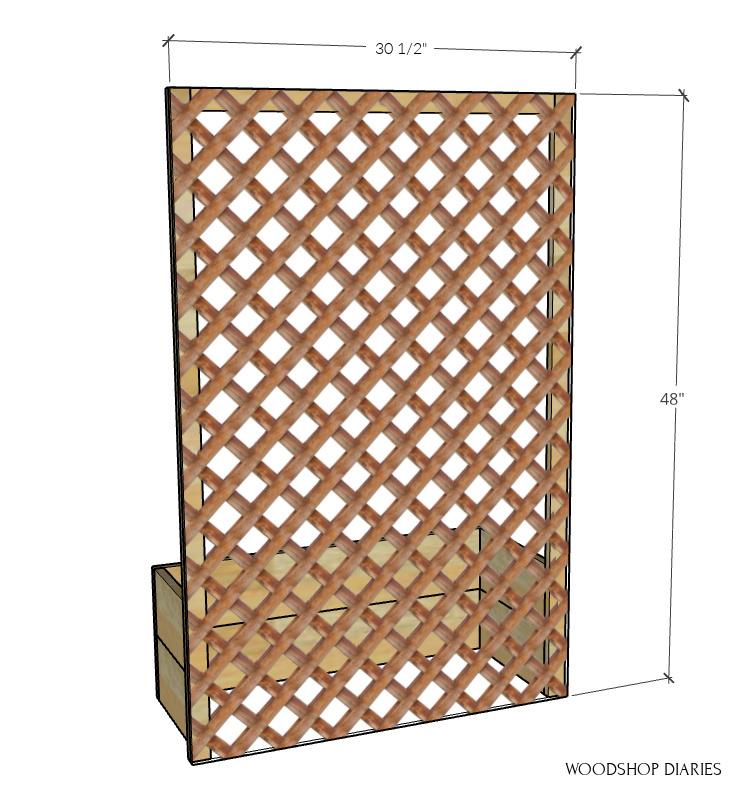 Lattice panel sizing diagram--lattice installed onto back of planter box frame