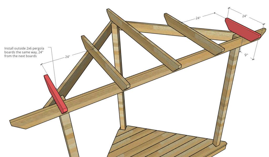 short outside pergola boards installed into corner pergola top
