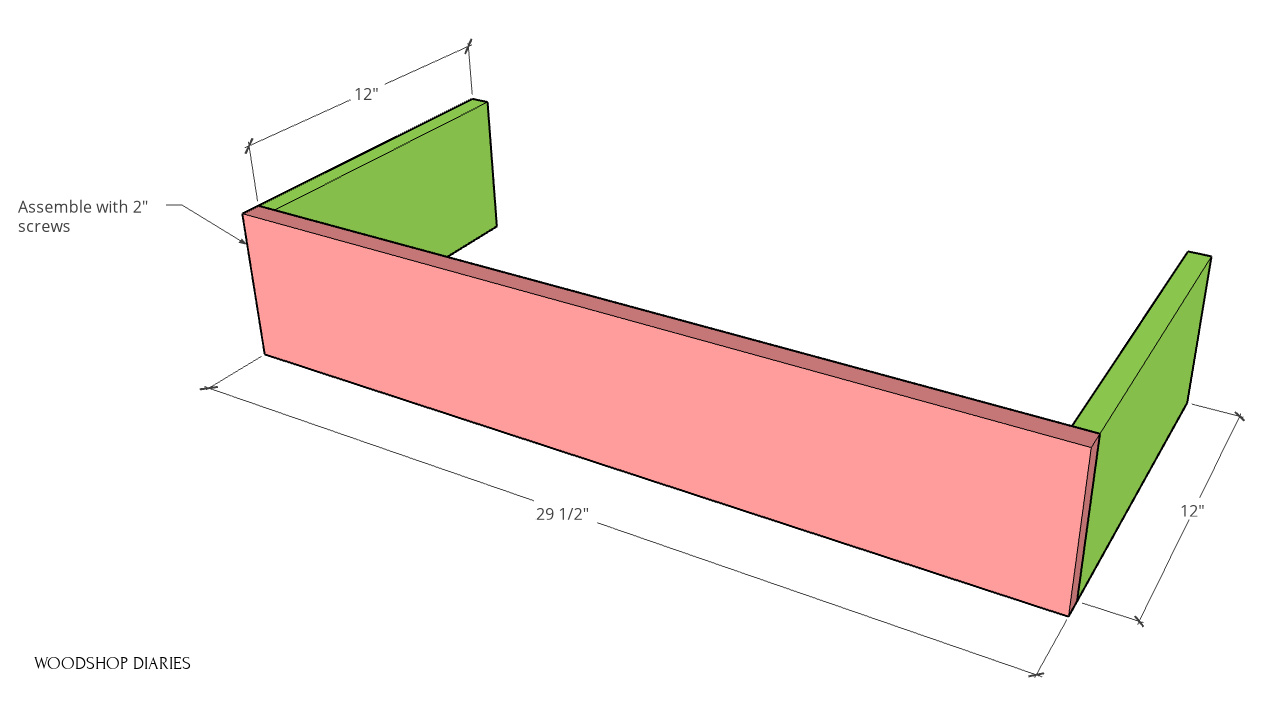 Diagram of partial boxes assembled for planter
