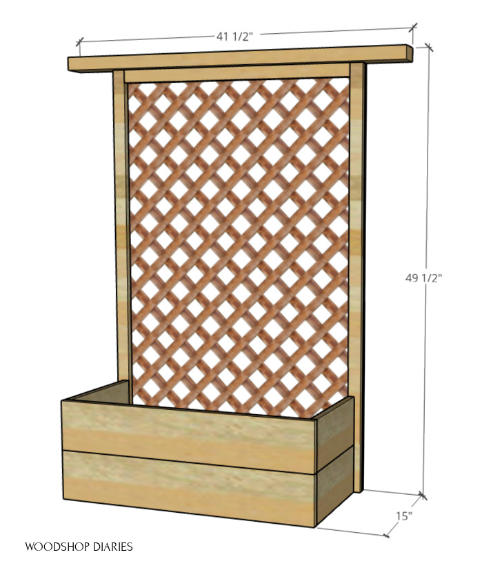 Overall size diagram of Planter box with trellis back