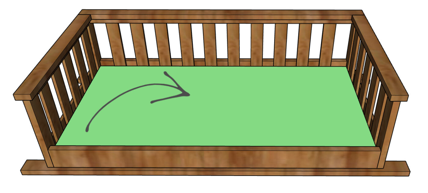 Computer diagram showing plywood panel placed in seat of porch swing bed frame