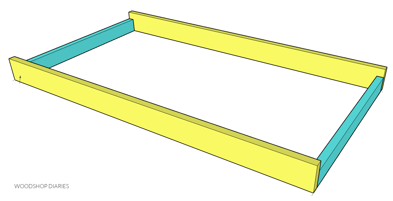 2x6 and 2x4 swing seat frame assembled--computer drawn diagram