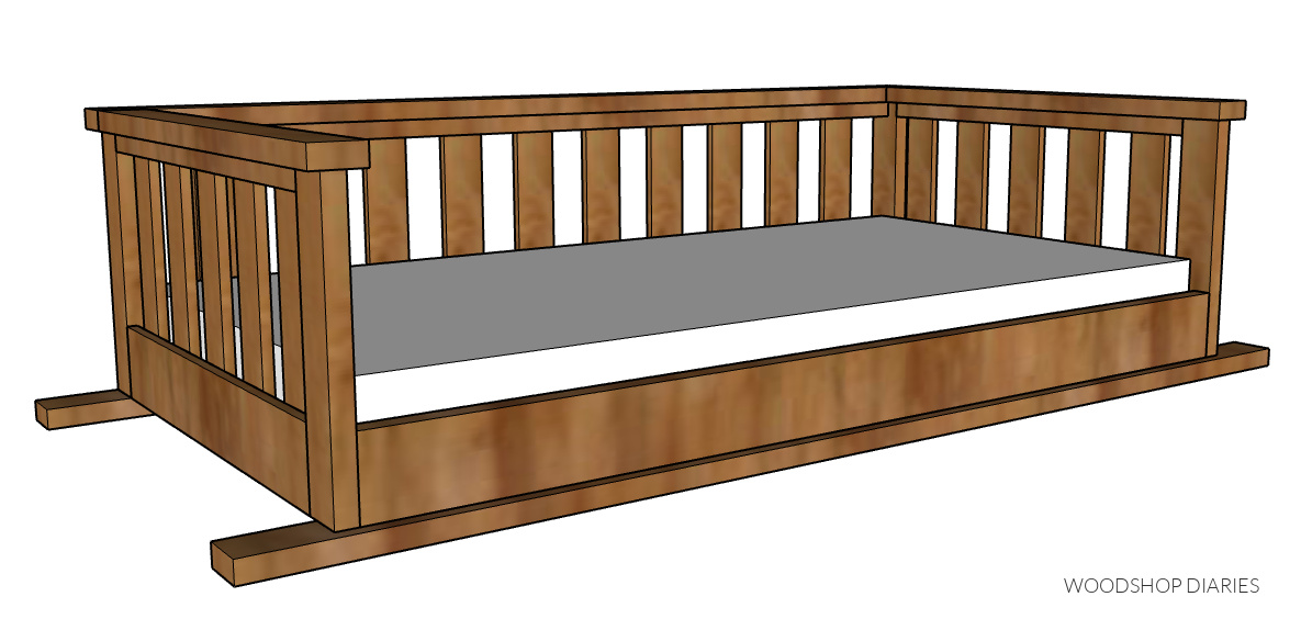 Computer diagram of overall DIY hanging porch swing bed project