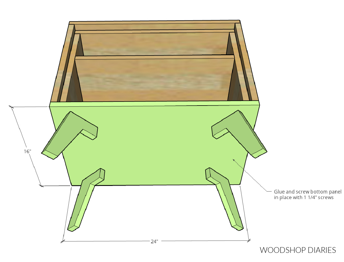 Bottom panel glued onto bottom side of nightstand with legs attached