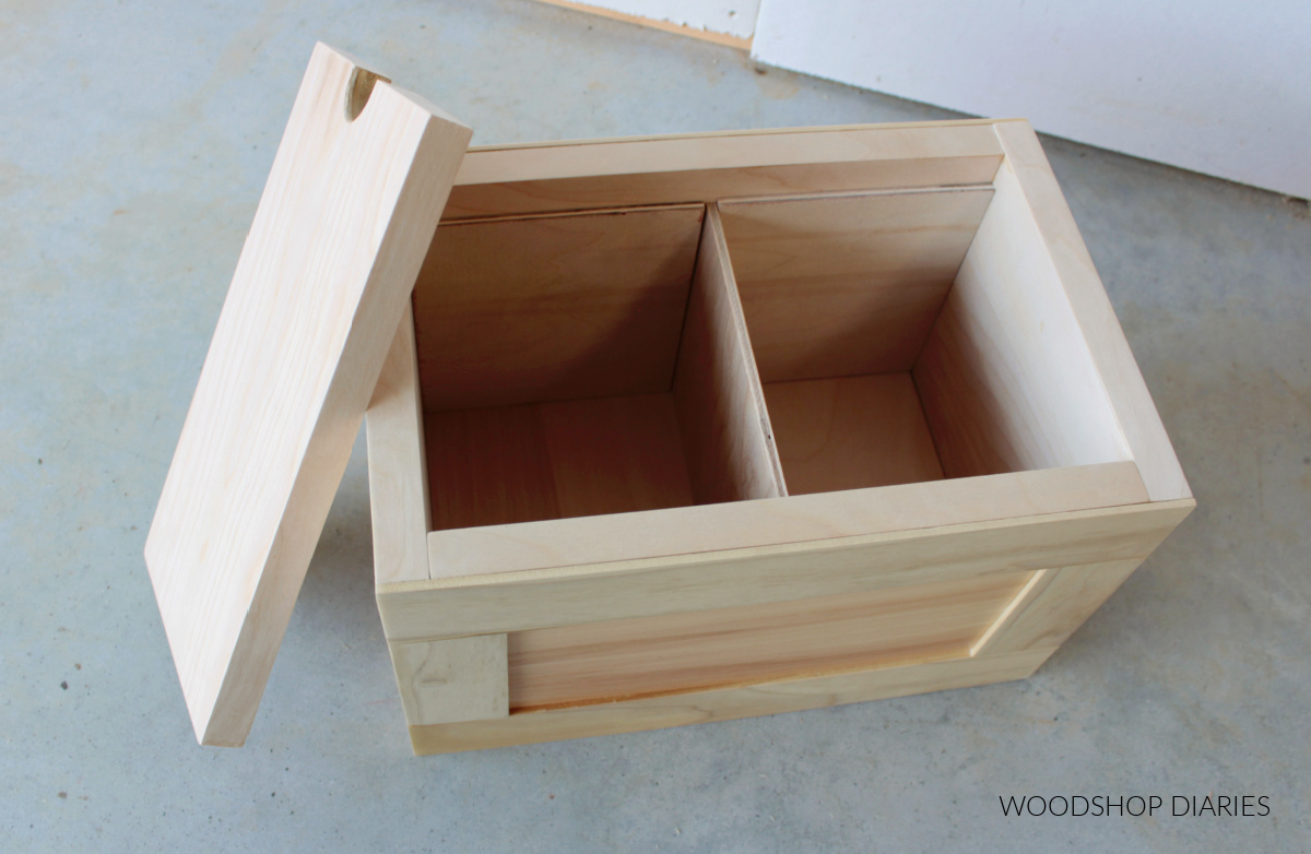 Plywood keepsake box with divider and lid removed
