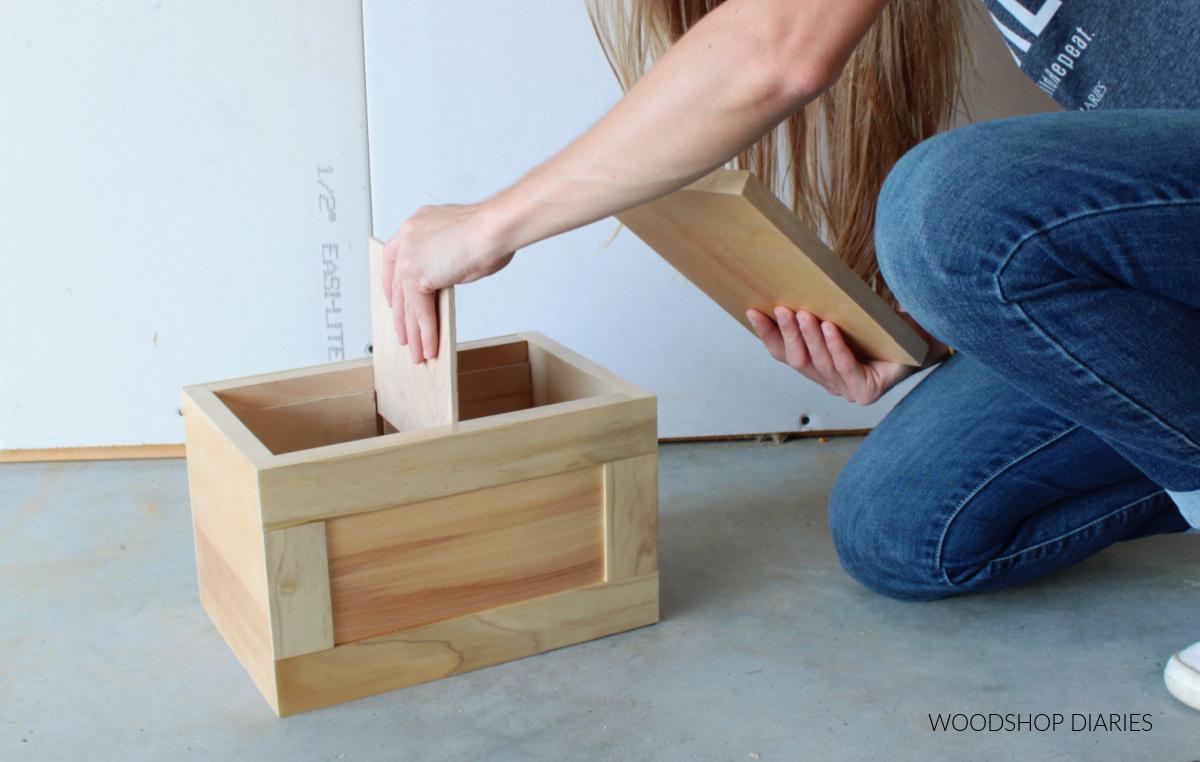 Shara Woodshop Diaries inserting removable divider piece into keepsake box